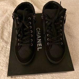 Authentic CHANEL High Top Sneakers Suede Size 35